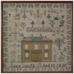 House Sampler, 1828 by Jane Smith