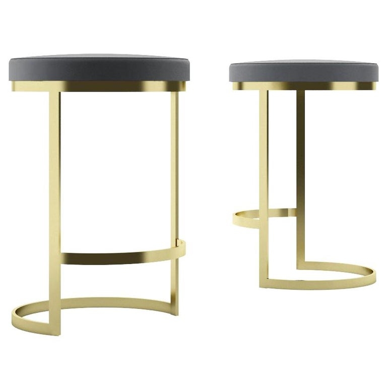 Ola Counter Stool Luxury Modern Style in Steel and Leather For Sale