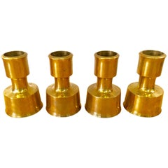 Set of 4 Brass Candle Sticks by Jens H. Quistgaard for Dans Design