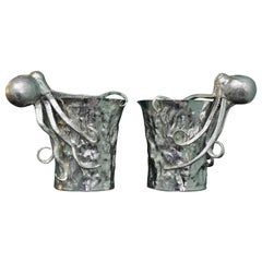 20th Century Hammered Cast Octopus Silver Wine Coolers Pair, Italy, 1930s