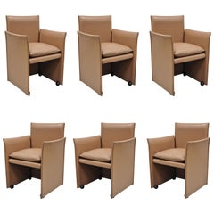 401 Break Armchair by Mario Bellini for Cassina Copper Leather 6 Chairs