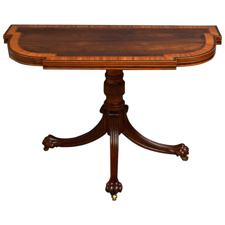 Exquisite Regency Rosewood Card Table For Sale