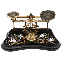 Antique Postal Scales Brass Engraved Pietra Dura, 19th Century