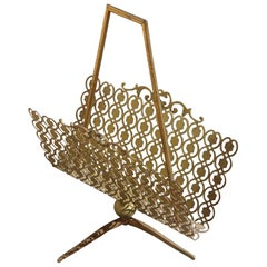 Mid-Century Italian Magazine Rack with Perforated Metal and Classic Design Brass