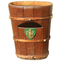 Brown Umbrella Stand Solid Chestnut Wood with Studs Coat Arms Brass Midcentury