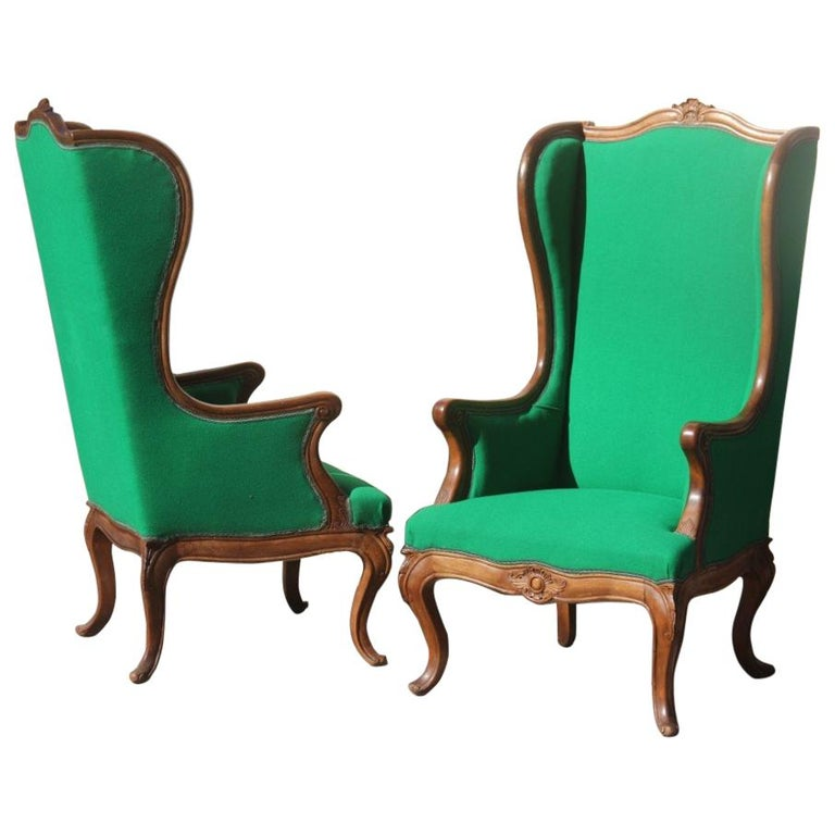Pair of Armchairs Walnut Wood Green Wool Fabric High Back Baroque Midcentury For Sale