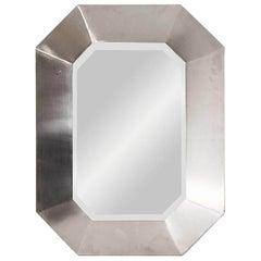 Stainless Steel Maison Jansen Mirror, 1970s