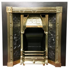 19th Century Victorian Style Cast Iron & Brass Fireplace Surround Insert & Grate