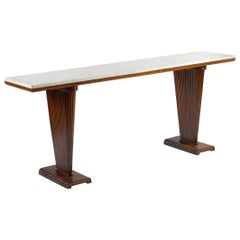 Midcentury Italian Console with White Marble Top, 1940