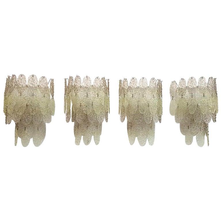 Gino Vistosi Torcello Murano Glass Disk Sconces For Sale