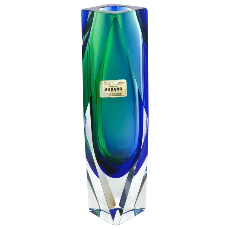 Mandruzzato Green Blue Faceted Murano Glass Sommerso Vase