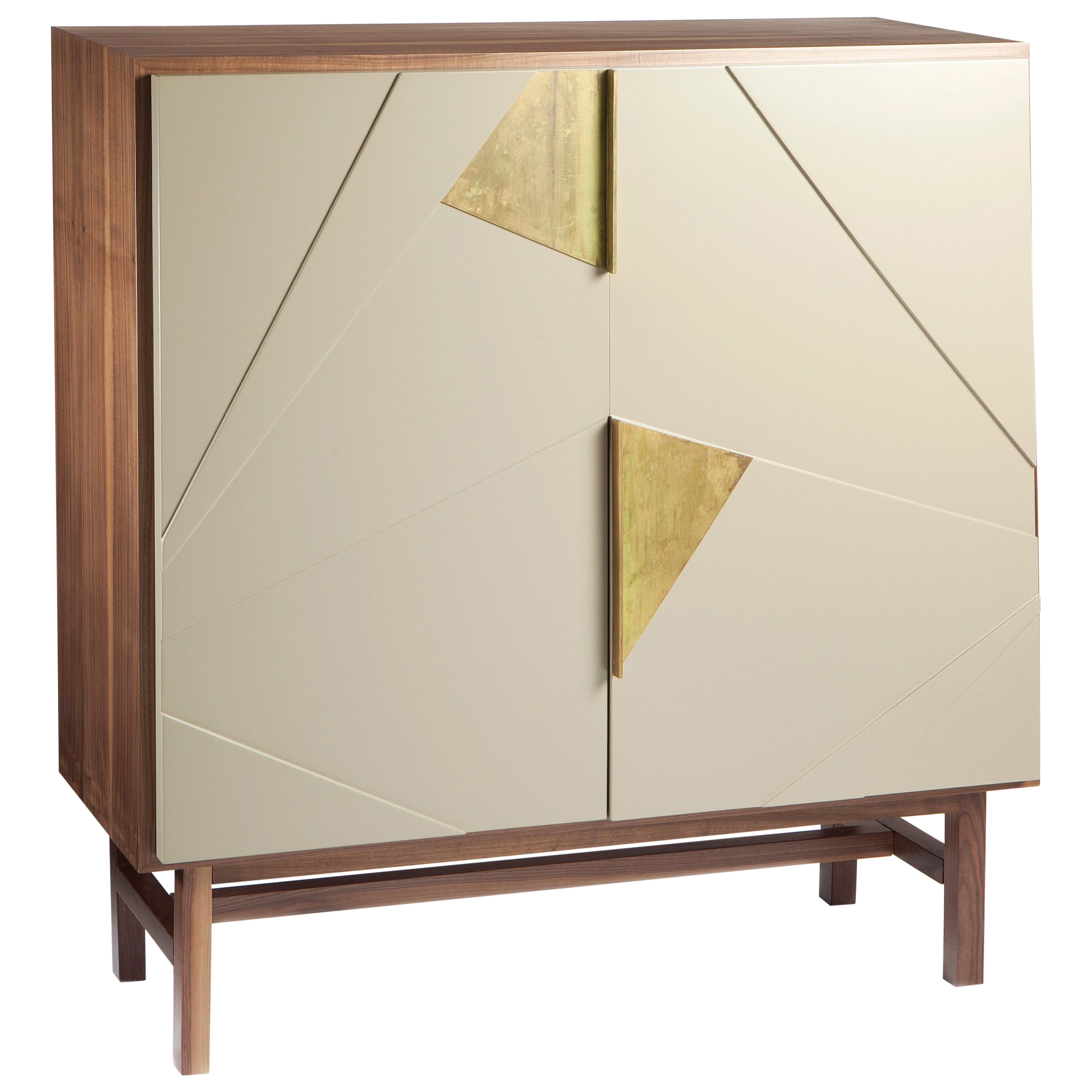 Bar Cabinet Jazz in Wood, Brass and Lacquer