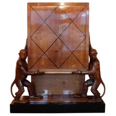 Art Deco Cocktail Cabinet with Carved Monkeys