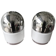 Pair of Salt and Pepper Lamps Chrome Opaline Glass by Reggiani, Italy, 1970