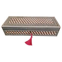 19th Century Anglo Indian Sadeli Mosaic and Tumbleblock Pattern Glove Box