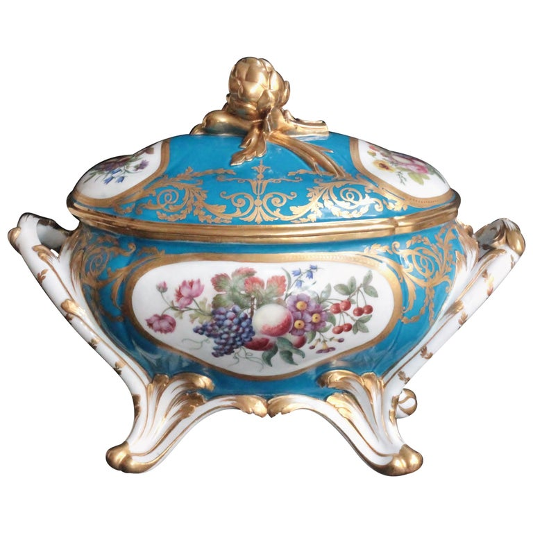Oval Tureen and Cover of Sevres Porcelain, Turquoise Blue Ground, 18th Century