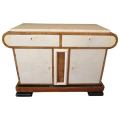 Art Deco White Birch and Parchment Italian Sideboard, 1930