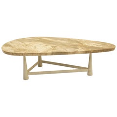 Rare Coffee Table by Edward Wormley for Dunbar, Organic Shape Travertine Top