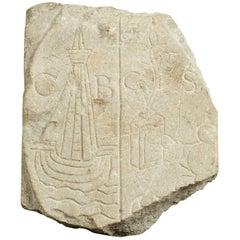 Medieval Limestone Commemorative Stone Marker, English, circa 1450-1550