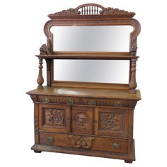 Renaissance Style Oak Griffin Sideboard with Superstructure
