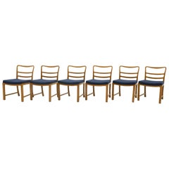 Six Dining Chairs by Edward Wormley, Large Scale, Bleached Mahogany, Blue Fabric