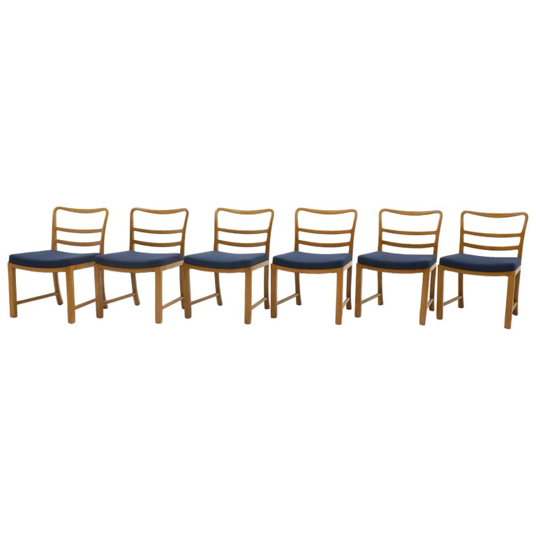 Six Dining Chairs by Edward Wormley, Large Scale, Bleached Mahogany, Blue Fabric For Sale