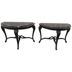 Pair of Regency Style Demilune Console Tables