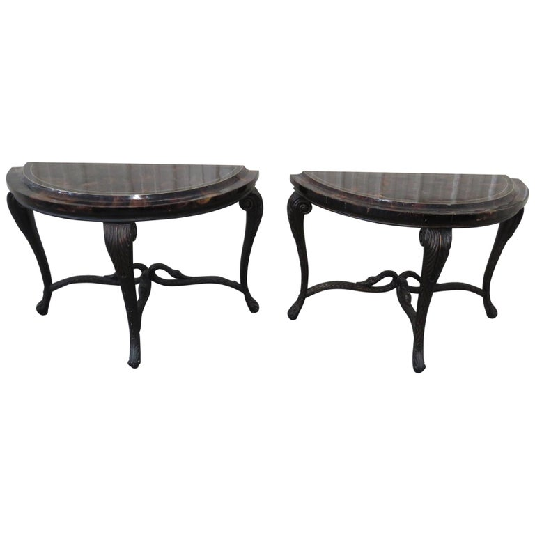 Pair of Regency Style Tessellated Top Demilune Console Tables For Sale