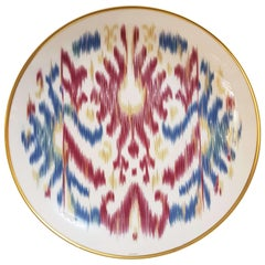 "Hermès Porcelain ""Voyage En Ikat"" Saphire Dessert Plate for Two, France"