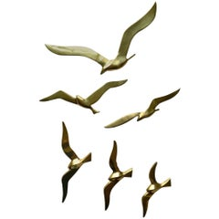 Set of Six Midcentury Brass Seagulls Wall Sculpture, 1960s