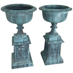 Pair of Antique Neoclassical Cast Iron Garden Urns, Signed