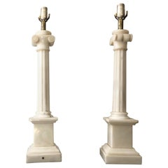 Mid-Century Neoclassical White Marble Ionic Column Table Lamp, 1960s Marbro Lamp