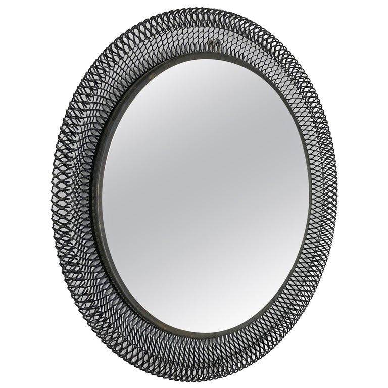 Original Midcentury Bauhaus Metal Rigituelle Metal Mirror, France, 1950s