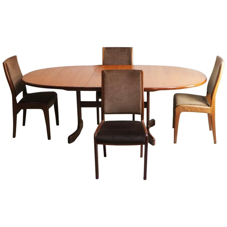 1970s Midcentury G Plan Table and 4 Dining Chairs