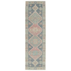 New Handmade Oushak Hall Runner Rug