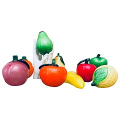 Midcentury Murano Art Glass Fruit Sculptures, Apple, Citrus, Pear, Banana