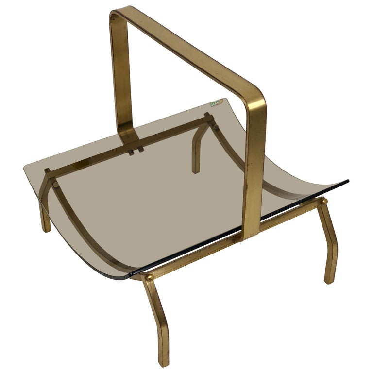 Fontana Arte Brass and Smoked Glass Magazine Rack Stand, 1960s, Italy