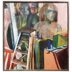 Midcentury Cubist Still-Life with Ladder, Oil on Canvas, Martin Lubner