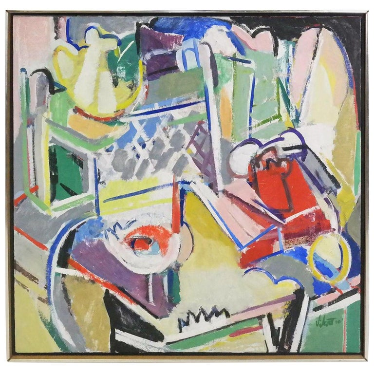 """Abstract Expressionist """"Telephone"""" Still Life Oil painting, Susan Scott, 1976"""