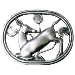 Georg Jensen Sterling Silver Deer Brooch, Designed by Arno Malinowski