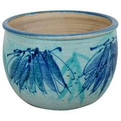 Mid-Century Modern Signed J.T. Abernathy Blue Glazed Ceramic Pot, 1960s