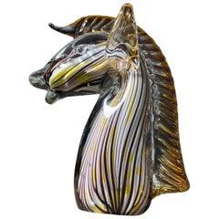 Midcentury Murano Art Glass Horse Sculpture, Cenedese Sumerso, Yellow & Opaline