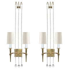 Tommi Parzinger Elegant Pair of Brass Sconces with Crystals, 1950s