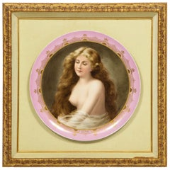 Royal Vienna Gilt and Hand Painted Porcelain Allegorical Portrait Charger Plate