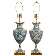 Large Pair of French Gilt Bronze-Mounted Champlevé Cloisonné Enamel Table Lamps