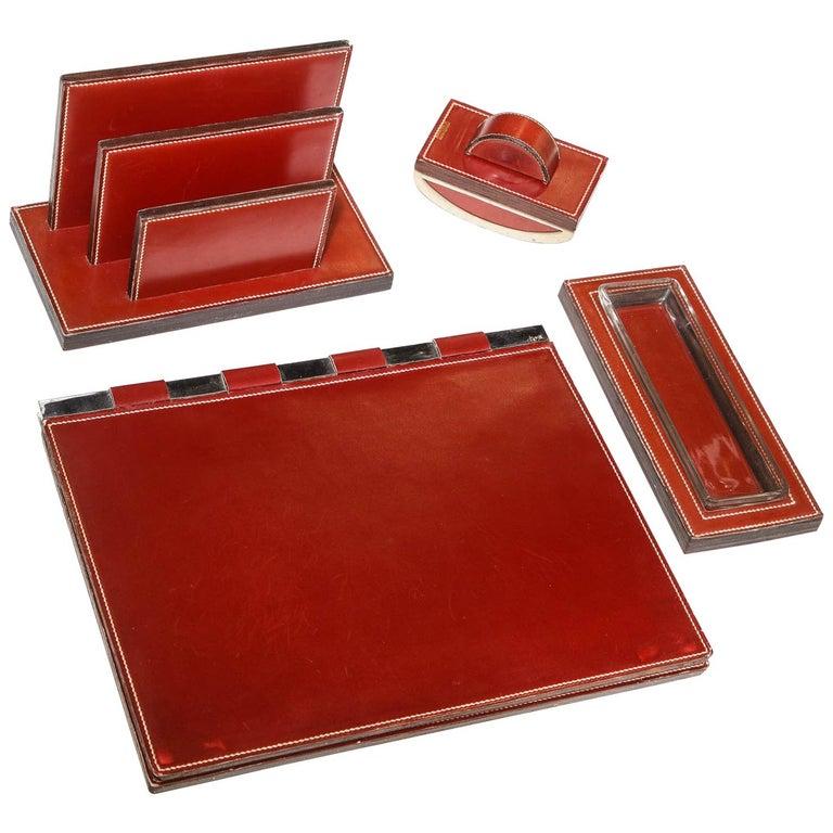 Paul Dupre-Lafon for Hermes Paris, Four-Piece Leather Desk Set, circa 1940