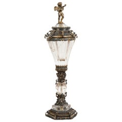 German Renaissance-Style Silver Gilt Rock Crystal Cup and Cover, circa 1870