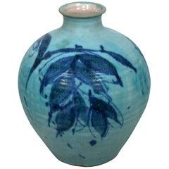 Mid-Century Modern by J.T. Abernathy Blue Glazed Ceramic Vase Vessel