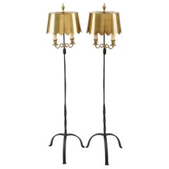 Vintage Pair of Fortuny Wrought Iron and Brass Floor Lamps