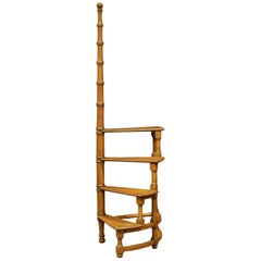 Mid-20th Century English Carved Four-Stairs Library Spiral Step Ladder